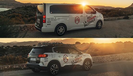Citroën SpaceTourer XL et Citroën SUV C5 AIRCROSS Hybrid au soleil levant